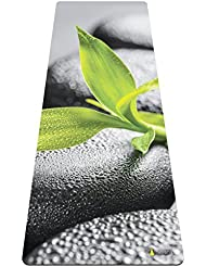 Esterilla premiun de yoga y toalla suave, caucho natural, biodegradable, respetuoso con el medio ambiente, antideslizante para Bikram Yoga, Hot Yoga, Ashtanga Vinyasa, pilates, Basalt Bamboo