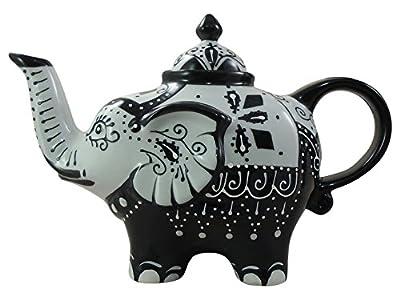 Théière en porcelaine comme Elephant en noir et blanc