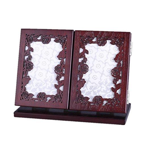 Meydlee Tragbare Retro Carve Holz Make-up Spiegel Kreative Folding 3 Side Tabletop-Spiegel , a