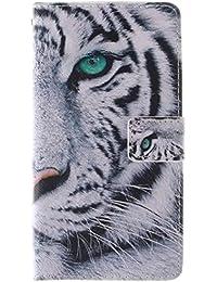 Coffeetreehouse - Funda de piel sintética tipo cartera para iPhone 4 / 4S, diseño grabado en relieve, con función atril y ranuras para tarjetas y documento de identidad, con cierre magnético, piel sintética, blanco (White Tiger), LG G3