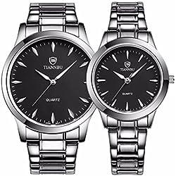 foxqueena-240Titan Stahl Band Simple Fashion Design Paar HIS und HERS Handgelenk Uhren schwarz Set von 2