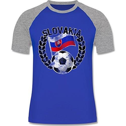 EM 2016 - Frankreich - Slovakia Flagge & Fußball Vintage - zweifarbiges Baseballshirt für Männer Royalblau/Grau meliert