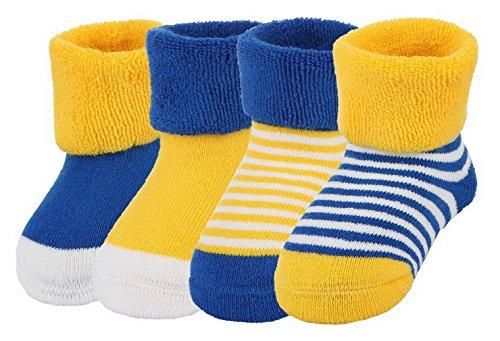 Y-BOA Lot 4 Paires Chaussette Sock Socquette Rayure Pois Bébé Coton Enfant Fille Garçon Souple Chaude Bleu 0-6mois