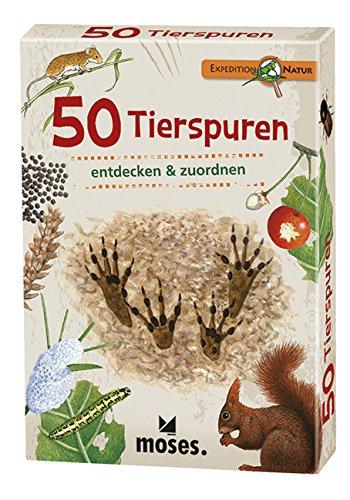 moses. Expedition Natur - 50 Tierspuren  Bestimmungskarten im Set   Mit spannenden Quizfragen