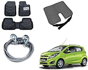 Auto Pearl Premium Quality Car Accessories Combo of Car Floor Foot Mats 4D Black. & Full Steel Towing Tow Cable 2000kgs 6mm Heavy Duty 4Mtr. & Premium Quality Car Seat Rest Cushion Grey. For Chevrolet Beat Type-2