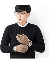 Par mantener cálido tejer hilados guantes invierno engrosamiento Touchscreen hombres y mujeres Gloves(2double)