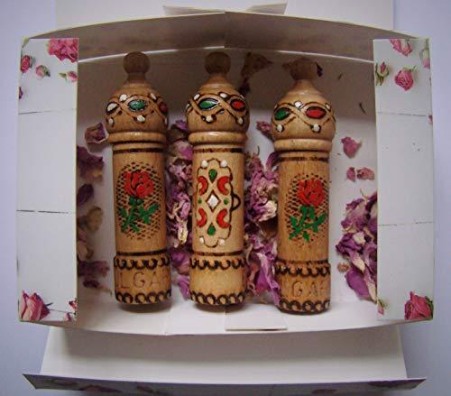 Perfume de aceite de rosa búlgaro aroma 3 viales x 2,1 ml regalo de recuerdo de madera (precio: 4,00€)