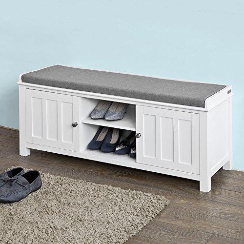 SoBuy® Sitzbank, Bettbank, Schuhschrank, Garderobenbank mit Sitzkissen, MDF, weiß, FSR35-W