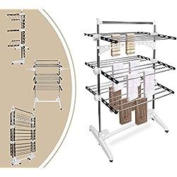 Leogreen - Etendoir à Linge, Séchoir à Linge, 3 étagères, Noir/Blanc, avec ailes et barre supérieure, Matériau: Tubes en acier inoxydable, Nombre de barres: 24