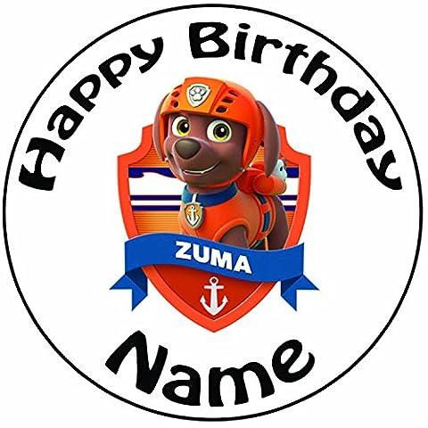 Décoration pour gâteau personnalisée Paw Patrol Zuma–Un Rond prédécoupés 20,3cm Décoration Glaçage (20cm)
