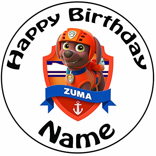 Patrol Zuma Zuckerguss Kuchen Topper / Kuchendekoration - 20 cm Großer Kreis - Jeder Name Und Jedes Alter (Nick Jr Happy Halloween)