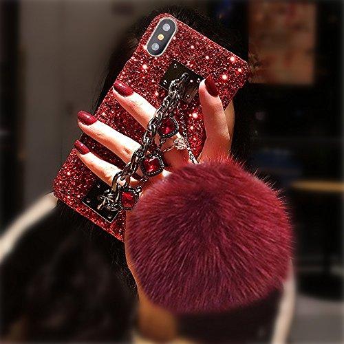 Bling Glitter Luxus Edelstein Armband Shinny Diamant Kette Halter mit Kaninchen Fell Pom Plüsch Ball für Mädchen Hard Shell Case für Apple iPhone 5/5S, Red Shell-Red