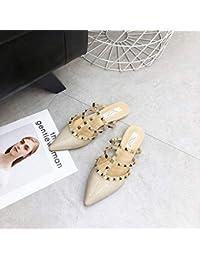 HOESCZS Tacones Altos Sandalias Y Zapatillas De Punta con Tachuelas, Zapatos De Tacón Alto Y