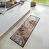 Zala Living Coffee Stamp Waschbarer Küchenläufer, Polyamid, Braun, 150 x 50 x 0.5 cm