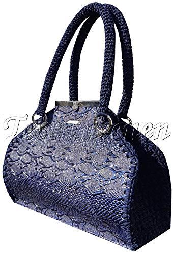 Damen Handtasche Blaue lackierte Krokodilleder (Imitation) Tasche Reptil-Leder-Optik Bowling-Taschen Exklusive Designer Dunkel Umhängetasche Artztasche Doktor Tasche