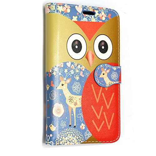 GSD STYLE YOUR MOBILE {TM} HUAWEI ASCEND Y550 PU LEATHER CARD CASE(Owl Face Deer Book)