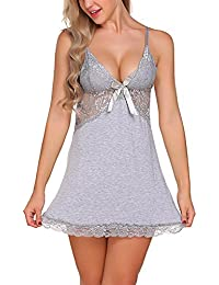 64cba586c3 NEW BLUE EYES Women s Fancy Dress Babydoll Nightwear with G String Thong  (Grey