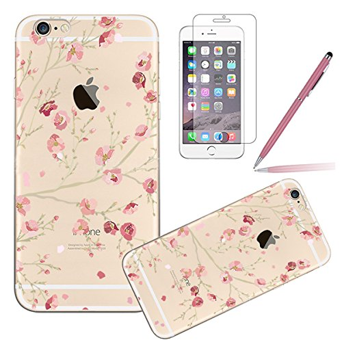 iPhone 6S Case,iPhone 6 Cover, Felfy Apple iPhone 6 / 6S 4.7 inch Rosa weiße Blume Muster Intarsien Shiny Funkeln Diamant Design Ultra Dünne weiche TPU Gel Silikon Transparent Clear Crystal Klar zurüc Kirschbaum CAS