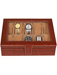 Leather World 5.5 Liter Tan PU Leather Watch Box for 10 Watches | Watch Case | Watch Organizer | Watch Case For Men with Clasp Closure Travel Bag