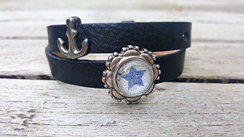 Milano Leder-armband (Milano Leder Armband schwarz mit versilbertem Anker und Glitzerstern)