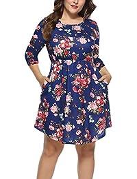 BoBoLily Kleider Damen Kurz Große Größen Elegante Sommerkleid 3 4 Ärmel  Unikat Style Rundhals Blumen High Waist Shirtkleider Blusenkleid… 1a38ad1b94