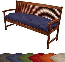 Beautissu Cojines para bancos - 120x50x10 cm & 150x50x10 cm en diversos colores - Cómodo acolchado - Para bancos de jardín y columpio Hollywood