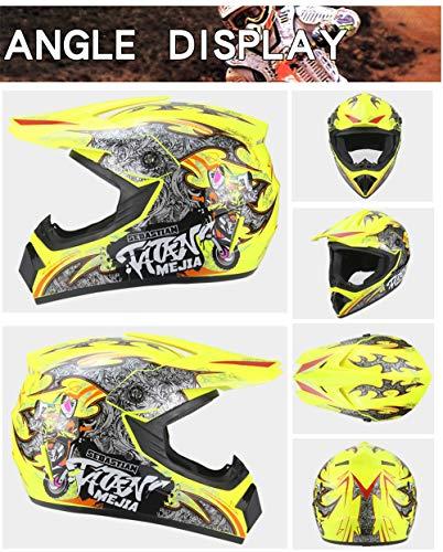 MZ Vollgesichts Motorrad Motorradhelm Road Legal + Free Extra Visier,Yellow,XL