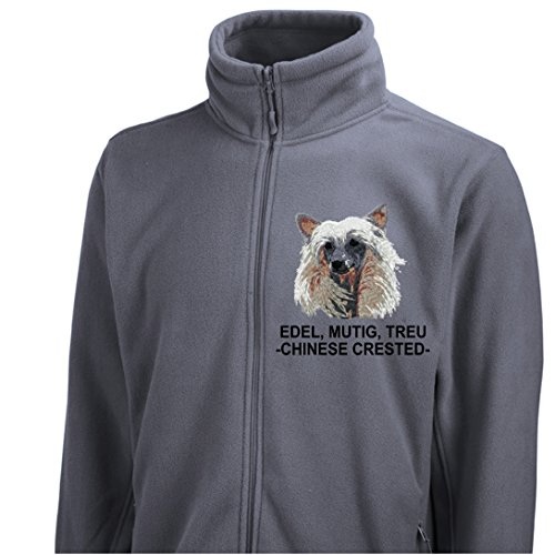 Siviwonder Unisex Fleecejacke CHINESE CRESTED DOG SCHOPFHUND Hunde Stickerei dark grey L Chinese Crested Dog Sweatshirt