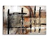 120x80cm Leinwandbild Leinwanddruck Kunstdruck Wandbild braun schwarz beige weiß Striche Viereck