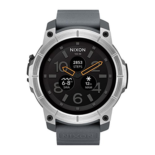 Nixon-Mens-Quartz-Smartwatch-with-Multicolour-Dial-AnalogueDigital-Display-and-Grey-Silicone-Strap-A1167-2101-00