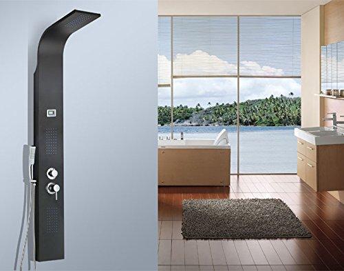 HAC24 Schwarzes Design Duschpaneel Aus Aluminium   Massive Ausführung   Wellness Tropenregen-Duscherlebnis mit Antikalk System