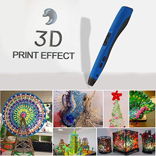 3D Pluma Inteligente LESHP 4ªGeneración Lapiz 3D Pen Bolígrafo de Impresión Estereoscópica para figura 3D con pantalla LED + velocidad ajustable+ 3 ABS filamentos, azul