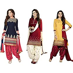Super Deal Women's Printed Unstitched Regular Wear Salwar Suit Dress Material (Combo pack of 3)(SuperDeal_Combo_7083)(SuperDeal_3001_Blue)(SuperDeal_3002_Red)(SuperDeal_3047_Yellow)