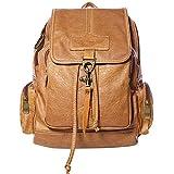 Coofit Damen PU Leder Rucksack Schultasche Daypacks Tasche Schulrucksack Reisetasche Backpack (Camel)