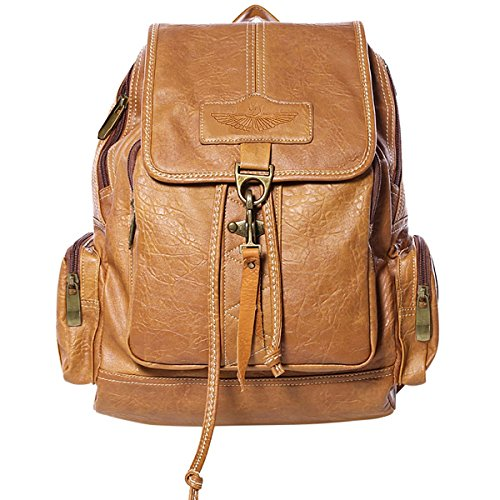 Fashion Damen Pu-leder (Coofit Damen PU Leder Rucksack Schultasche Daypacks Tasche Schulrucksack Reisetasche Backpack (Camel))