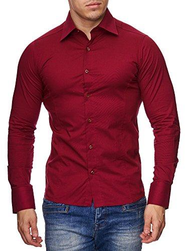 Herren Langarm Hemd Business Anzug Freizeit Hochzeit Basic Standard Slim Fit Bordeaux