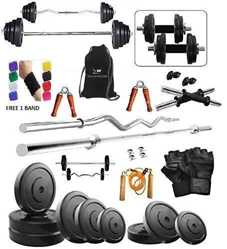 Protoner 50Kg Weight Plates,5Ft Rod,3Ft Curl Rod,2D.Rods Home Gym Dumbell Set.