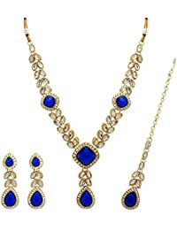 Jaipur Mart Alloy Metal Kundan Necklace With Earring & Maang Tikka For Women (KN107BLU)