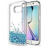 LeYi Hülle Galaxy S6 Edge Glitzer Handyhülle mit HD Folie Schutzfolie,Cover TPU Bumper Silikon Flüssigkeit Treibsand Clear Schutzhülle für Case Samsung Galaxy S6 Edge Handy Hüllen ZX TS Blau