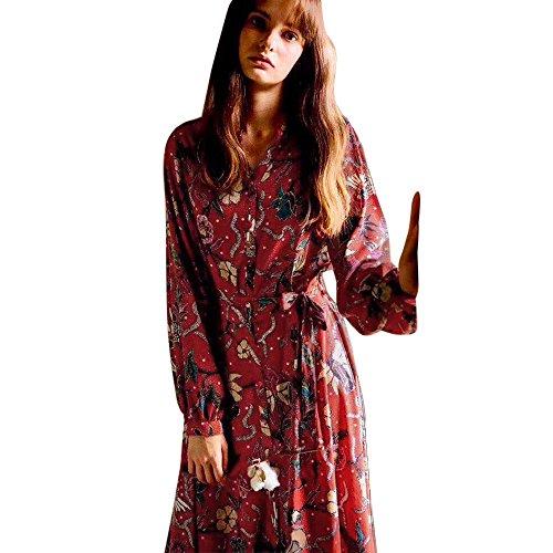 Blumen Kleid, Huihong Damen Floral Lange Kleid Langarm-KnöPfen GüRtel BöHmischen KnöChel LäNge Kleid FüR Freundin (Rot, M) (Floral Mutterschaft Jersey)