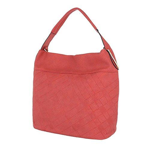 iTal-dEsiGn Damentasche Mittelgroße Schultertasche Handtasche Used Optik Kunstleder TA-F2006 Rot