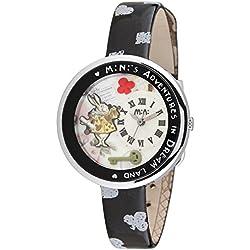 Fashion Girl Female Children Polymer Alice Dream Travel Clay Black Silver Leather Quartz Wrist Watch