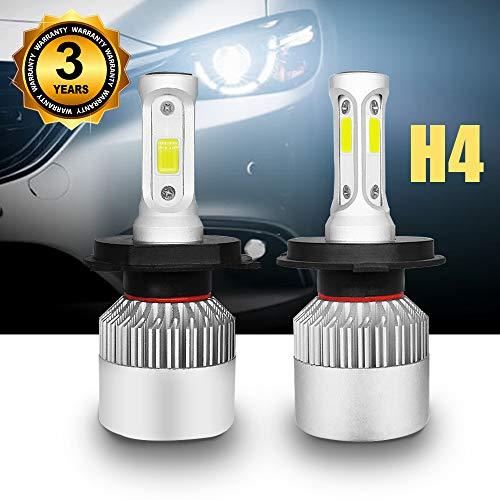 Lampadine H4/HB2/9003 LED 8000LM, Kit Sostituzione per Alogena Lampade e Xenon Luci, Fari Abbaglianti o Anabbaglianti per Auto, 12V-24V, Lampada 6000K Bianco