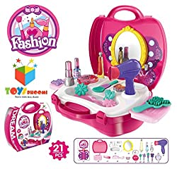 Toys Bhoomi Girls Bring Along Beauty Suitcase Makeup Vanity Toy Set - 21 Pieces