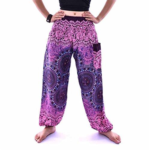 Moonuy,Männer Frauen Hosen, Thai Harem Hose Boho Festival Hippie Kittel hohe Taille Yoga Hosen, tanzen Sport National Vintage Hosen, Frühling knöchellangen Britches (Lila) (Square Hose Kostüm)