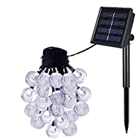 Azornic Solar Powered String Lights for Christmas Party Wedding Yard and Holiday Decorations Waterproof Globe Garden Lights 2 Modes 30 Bulbs, [Energy Class A++]