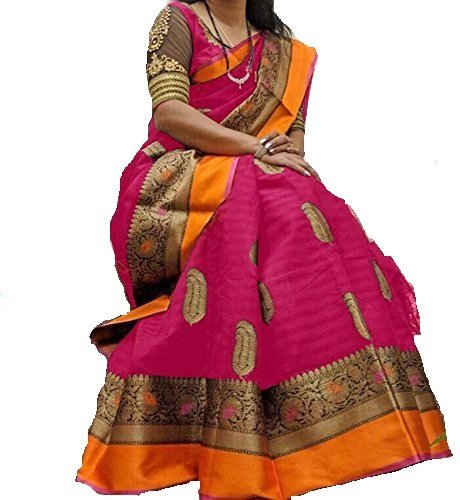 PRAMUKH STORE Sampoorna Pink Sarees for Women Latest Design Sarees New Collection...