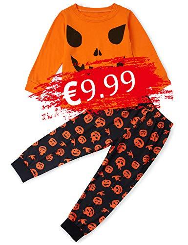 TUONROAD Pijamas de Vacaciones para niños Pijamas de Halloween Ropa para bebés pequeños Conjuntos de Pijamas de Cuello Redondo Estampados de Manga Larga de algodón Naranja
