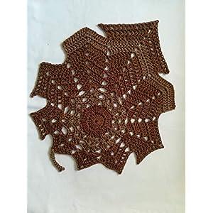 Tischdecke, Blatt, Herbst, gehäkelt, Ahornblatt, Herbstblatt, gehäkelt, Untersetzerer, Dekoration, Handarbeit, Baumwolle