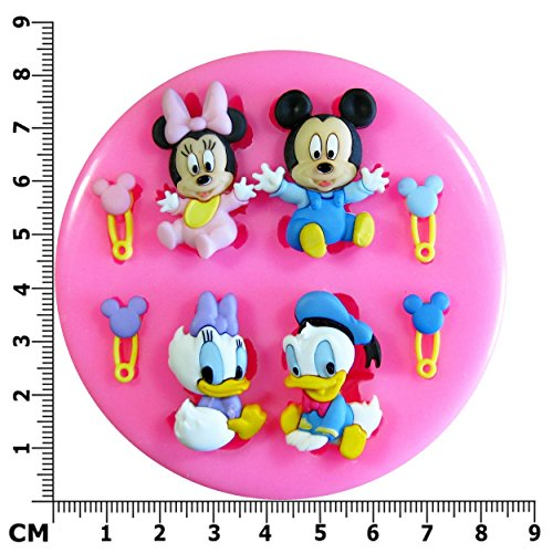 Baby Mickey Mouse, Minnie Mouse, Donald Duck & Daisy Duck SilikonForm für Kuchen Dekorieren, Kuchen, kleiner Kuchen Toppers, Zuckerglasur, Fondantform, Sugarcraft Werkzeug durch Fairie (Daisy Halloween Prinzessin)